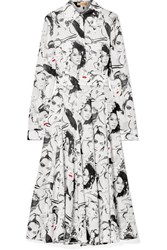 Michael Kors Collection David Downton Printed Silk Crepe De Chine Midi Dress White