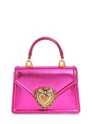 Dolce And Gabbana Mini Devotion Laminated Leather Bag Fuchsia Laminat