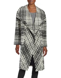 Dkny Plaid Mohair Wrap Coat Black
