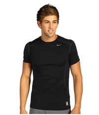 Nike Pro Combat Fitted 2.0 S S Crew Black Anthracite Men's Short Sleeve Pullover Multi
