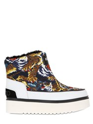 Kenzo 40Mm Tiger Printed Faux Shearling Boots
