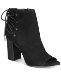 Nine West Britt Back Lace Up Peep Toe Block Heel Booties Women's Shoes Black Suede