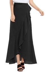 Vince Camuto Women's Faux Wrap Ruffled Maxi Skirt Rich Black