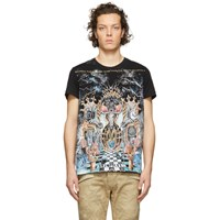 Balmain Black And Multicolor Graphic T Shirt