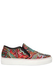 Etro 20Mm Paisley Satin Slip On Sneakers Multicolor