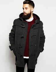 Gloverall Duffle Coat With Check Hood Charcoal