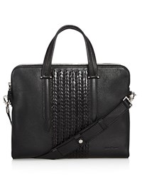 Salvatore Ferragamo Firenze Pebbled And Woven Leather Slim Briefcase Black