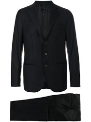 Caruso Two Piece Suit Men Cupro Wool 48 Black