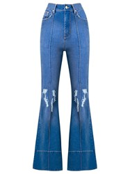 Amapo Distressed High Waist Flared Jeans Blue