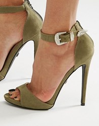 Daisy Street Western Barely There Heeled Sandals Khaki Micro Green