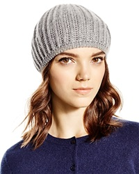 C By Bloomingdale's Cashmere Ribbed Beret Pale Gray