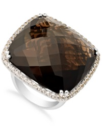 Macy's Sterling Silver Smokey Quartz 53 1 3 Ct. T.W. And White Topaz 2 3 4 Ct. T.W. Oversized Ring
