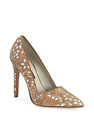 Alice Olivia Dina Three Laser Cut Cork Pumps Natural