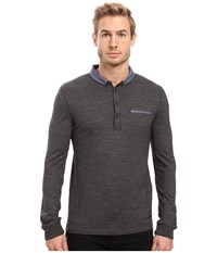 Boss Orange Patcherman 1 Long Sleeved Polo Black Men's Long Sleeve Pullover