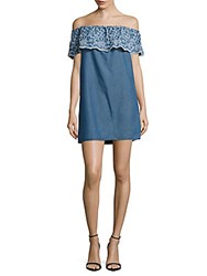 Romeo And Juliet Couture Floral Embroidered Denim Dress Denim Blue