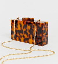 True Decadence Tortoiseshell Structured Box Clutch Bag Brown