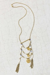 Urban Outfitters Layered Bead Pendant Necklace Gold