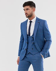Penguin Orginal Slim Fit Blue Prince Of Wales Check Suit Jacket