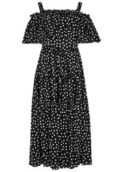 Dolce And Gabbana Monochrome Polka Dot Midi Dress Black And White