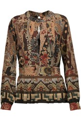 Etro Pleated Printed Silk Crepe De Chine Peplum Blouse Multi