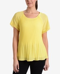 Ny Collection Pleated T Shirt Candlelight
