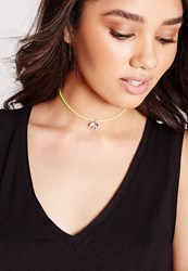 Missguided Neon Elephant Charm Choker Yellow
