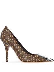 Burberry Monogram Print Pumps Brown