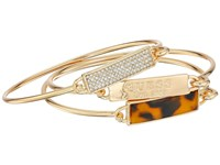 Guess Three Piece Tension Bar Bangle Set Gold Crystal Tortoise Bracelet