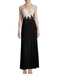 Cachet Embellished Illusion Lace Bodice Gown Black White