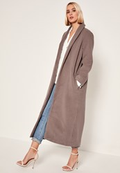 Missguided Brown Shawl Collar Faux Wool Maxi Coat Mink