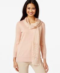 Cable And Gauge Three Quarter Sleeve Sweater With Metallic Scarf
