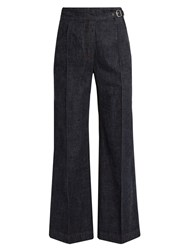 Rachel Comey Harlan High Rise Wide Leg Cotton Trousers Blue