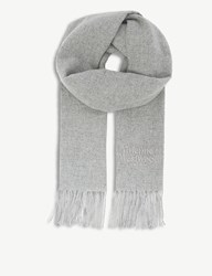 Vivienne Westwood Embroidered Wool Scarf Light Grey
