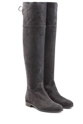 Sergio Rossi Suede Over The Knee Boots Black