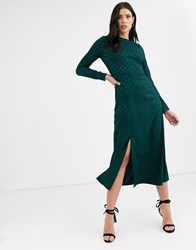 Fashion Union Long Sleeve Midi Dress With Dip Back And Tie Detail Green