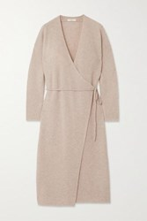 Vince Ribbed Wool And Cashmere Blend Wrap Dress Stone