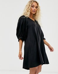 Weekday Puff Sleeve Mini Dress In Black
