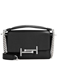 Tod's Double T Mini Leather Shoulder Bag Black