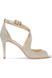 Jimmy Choo Emily 85 Glittered Leather Sandals Silver