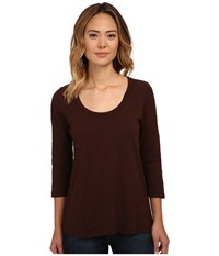 Mod O Doc Slub Jersey 3 4 Sleeve Scoop Neck Tee Cocoa Women's Long Sleeve Pullover Brown