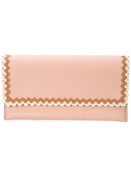 Loeffler Randall Scallop Trim Everything Wallet Pink And Purple