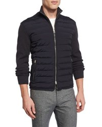 Tom Ford Zip Front Puffer Jacket With Sweater Sleeves Navy