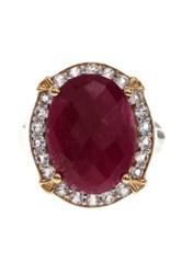 Olivia Leone 18K Yellow Gold Plated Sterling Silver And Rhodium Plated Ruby And White Topaz Halo Ring Red