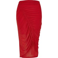 River Island Womens Orange Asymmetric Ruched Jersey Pencil Skirt