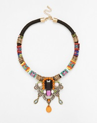 Designsix Multicoloured Thread Wrapped Necklace