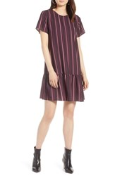 Halogen Short Sleeve Ruffle Hem Dress Burgundy Multi Stripe