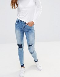 Noisy May Patchwork Jeans With Released Hem Detail Medium Blue