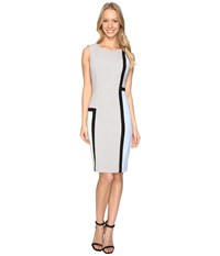 Calvin Klein Color Block Sheath Cd6x1v8p Black White Serene Mint Women's Dress Gray