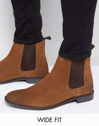 Asos Wide Fit Chelsea Boots In Tan Suede Tan