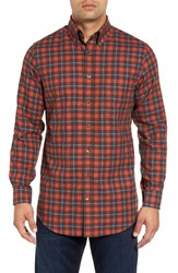 Bobby Jones Men's Mountain Brushed Plaid Sport Shirt Orange